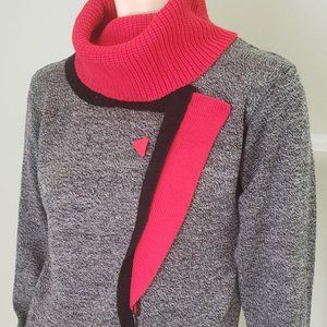 New Wave 1980's red black sweater dress S